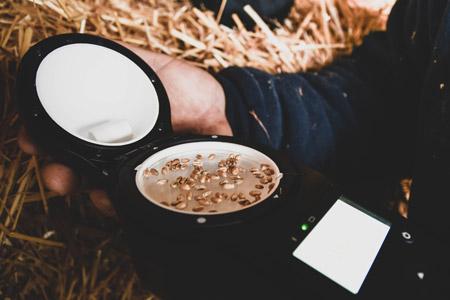 Для проведения измерения качества урожая с помощью анализатора для фермеров GrainSense, небходимо лишь горстка зерен, размещенных на кювете анализатора.