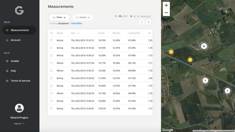 Анализируйте данные о белке, влаге, масличности через ваш смартфон или ПК. Измерения появляются на Google картах в Панели управления фермера.