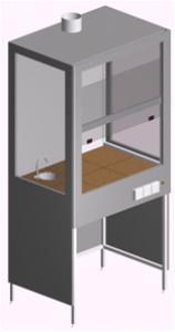 Шкаф вытяжной химический для отвода газообразных продуктов с мойкой ШВ-1Рс-1