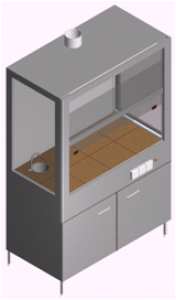 Вытяжной шкаф лабораторный с мойкой и тумбой ШВ-1Рс-1.3