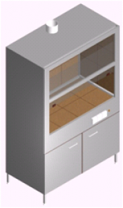 Шкаф вытяжной с мойкой, тумбой и стенками из керамогранита ШВ-1КРс-1.25