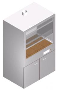 Шкаф вытяжной с двойной задней стенкой и дополнительной вытяжкой ШВ-1М2-1.25