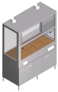 Вытяжной шкаф лабораторный с двумя вентиляторами и тумбой ШВ-2-1.5