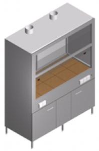 Вытяжной шкаф лабораторный с тумбой и двумя вентиляторами ШВ-2М-1.5