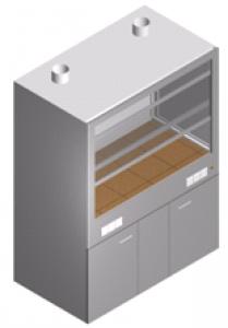 Вытяжной шкаф лабораторный с тумбой, двойной стенкой и второй вытяжкой ШВ-2М2-1.5