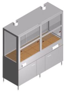 Вытяжной шкаф для лаборатории со стеклянными стенками, тумбой и двумя вентиляторами ШВ-2-1.9