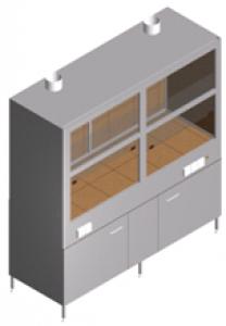 Вытяжной шкаф с тумбой, двумя вентиляторами и лабораторной мойкой ШВ-2КРс-1.9