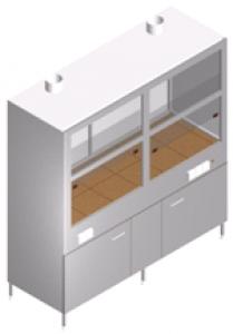 Вытяжной шкаф лабораторный широкий с тумбой, мойкой и двумя вентиляторами ШВ-2МРс-1.9