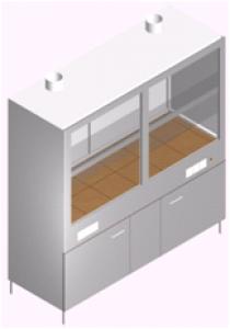 Вытяжной шкаф лабораторный широкий с мойкой, двойной стенкой, тумбой и второй вытяжкой ШВ-2М2Рс-1.9