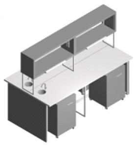 Стол лабораторный островной с мойками СО-1П-ЛРсТ-2.2