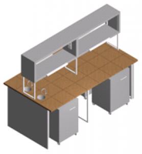 Стол лабораторный островной с 2-мя мойками СО-1П-КРсТ-2.2