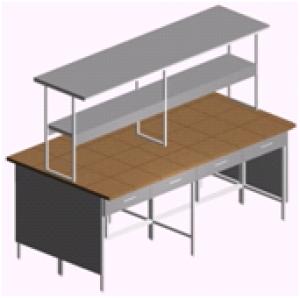 Стол лабораторный островной с ящиками и столешницей из керамогранита СО-1П-КЯ-2.2