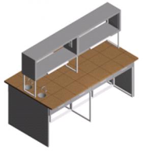 Стол лабораторный островной с мойками и выдвижными ящиками СО-1П-КРсЯ-2.2