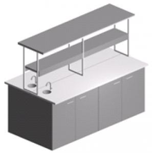 Стол лабораторный островной закрытый с дверями, полками и мойкой СО-1П-ЛРсЗ-2.2