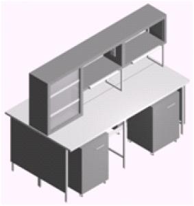 Стол лабораторный островной с выкатными тумбами и титровальным табло СО-1ПТ-ЛТ-2.2