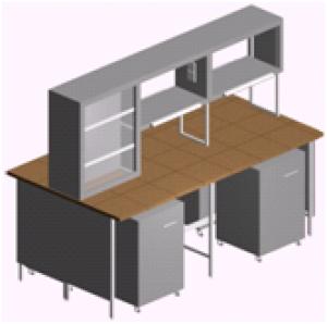 Лабораторный стол островной с выдвижными тумбами и титровальным табло СО-1ПТ-КТ-2.2