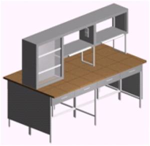 Лабораторный стол островной с ящиками и титровальным табло СО-1ПТ-КЯ-2.2