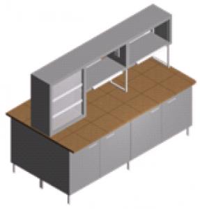 Стол лабораторный закрытый с полками и титровальным табло СО-1ПТ-КЗ-2.2