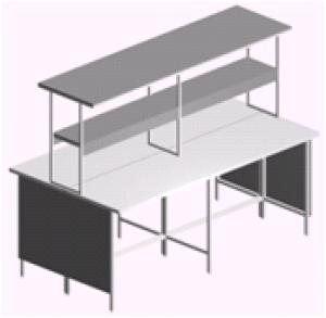 Стол лабораторный островной открытый СО-1П-ЛО-2.2