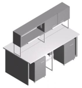 Стол лабораторный островной с тумбами и шкафчиком СО-1Пш-ЛТ-2.2