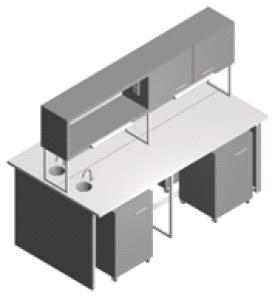 Стол лабораторный - мойка с тумбами и шкафчиком СО-1Пш-ЛРсТ-2.2