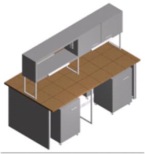 Стол лабораторный островной с тумбами и шкафчиком СО-1Пш-КТ-2.2