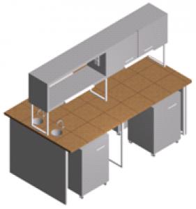 Стол лабораторный с мойкой, тумбами и шкафчиком СО-1Пш-КРсТ-2.2