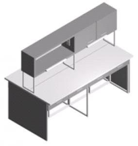 Стол лабораторный с полками, ящиками и шкафчиком СО-1Пш-ЛЯ-2.2