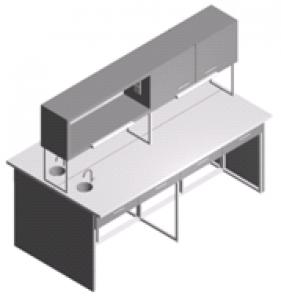 Стол - мойка лабораторный с полками, ящиками и шкафчиком СО-1Пш-ЛРсЯ-2.2