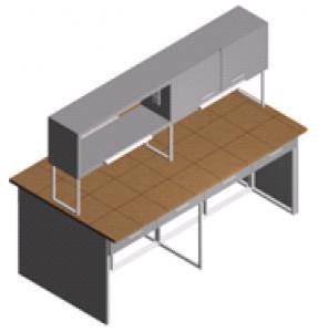 Стол лабораторный с полками, ящиками и шкафчиком (островной) СО-1Пш-КЯ-2.2