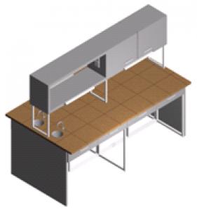 Стол лабораторный с мойкой, полками, ящиками и шкафчиком (островной) СО-1Пш-КРсЯ-2.2