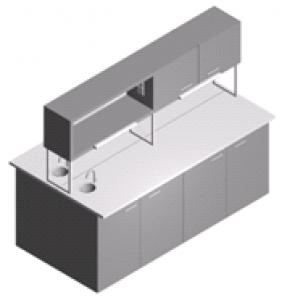 Стол лабораторный островной закрытый с полками, шкафчиком и мойкой СО-1Пш-ЛРсЗ-2.2
