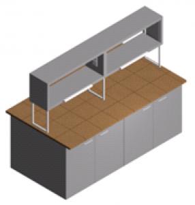 Стол лабораторный закрытый (островной) с полками, шкафчиком и тумбами СО-1Пш-КЗ-2.2
