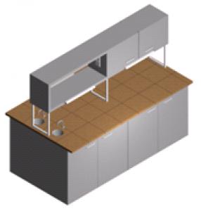 Стол лабораторный с мойкой закрытый островной с полками, шкафчиком и тумбами СО-1Пш-КРсЗ-2.2
