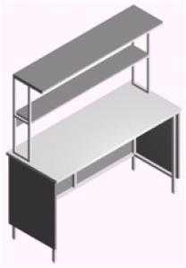 Стол лабораторный пристенный открытый СП-1П-ЛО-1.5