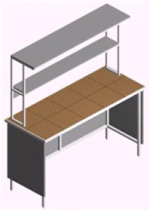 Стол лабораторный пристенный открытый с полками СП-1П-КО-1.5
