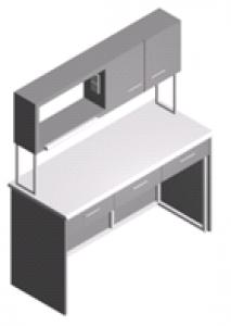 Стол лабораторный пристенный с ящиками, шкафчиком и полками СП-1ПШ-ЛЯ-1.5