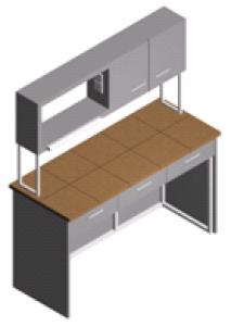 Стол лабораторный пристенный со шкафчиком и полками СП-1ПШ-КЯ-1.5