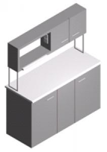Стол лабораторный пристенный закрытый с тумбами и шкафчиком СП-1ПШ-ЛЗ-1.5