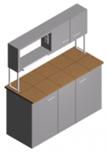 Стол пристенный лабораторный со шкафчиком, тумбами и полками СП-1ПШ-КЗ-1.5