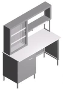 Стол лабораторный пристенный со встроенной тумбой и титровальным табло СП-1ПТ-ЛТс-1.5