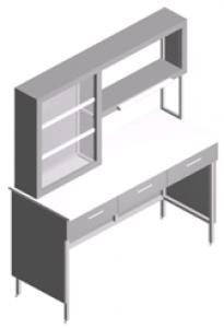 Стол пристенный, лабораторный с ящиками и титровальным табло СП-1ПТ-ЛЯ-1.5