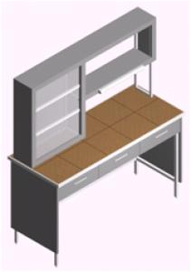 Стол лабораторный, пристенный с титровальным табло и ящиками СП-1ПТ-КЯ-1.5