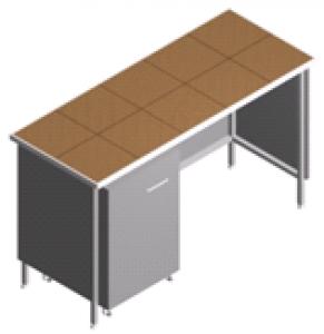 Стол лабораторный пристенный с тумбой СП-2-KТ-1.5