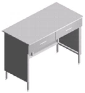 Стол пристенный, лабораторный со столешницей из нержавейки СП-2-НЯ-1.2