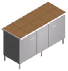 Стол пристенный, лабораторный, со столешницей из керамогранита СП-2-КЗ-1.5