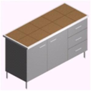 Стол пристенный, лабораторный, с ящиками и тумбами СП-2-КЯЗ-1.5