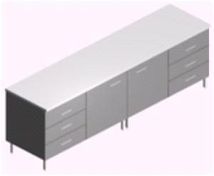 Стол пристенный, удлиненный лабораторный СП-2-ЛЗ-2