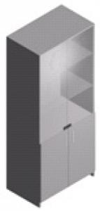 Шкаф лабораторный со стеклянными полками и дверями ШЛ-2-0.8