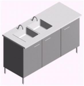Мойка двойная лабораторная МЛ-2-1.5 (с двумя смесителями, местом для сушилки)